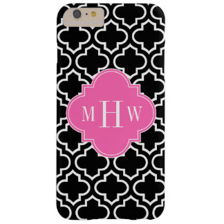 Black Wht Moroccan #6 Hot Pink 3 Initial Monogram Barely There iPhone 6 Plus Case