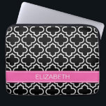 """Black Wht Moroccan #6 Hot Pink Name Monogram Laptop Sleeve<br><div class=""""desc"""">Black and White Moroccan Quatrefoil Trellis Pattern #6, Hot Pink #2 Ribbon Name Monogram Customize this with your name, monogram or other text. You can also change the font, adjust the font size and font color, move the text, add additional text fields, etc. Please note that this is a digitally...</div>"""