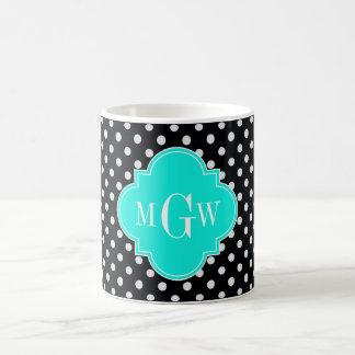 Black Wht Polka Dot Brt Aqua Quatrefoil 3 Monogram Mugs