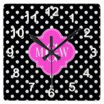 Black Wht Polka Dot Hot Pink Quatrefoil 3 Monogram Square Wall Clocks