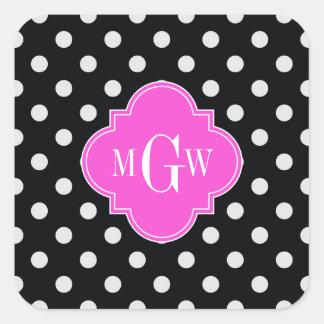 Black Wht Polka Dot Hot Pink Quatrefoil 3 Monogram Square Sticker