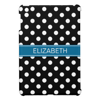 Black Wht Polka Dots #2 Peacock Blue Name Monogram iPad Mini Cover