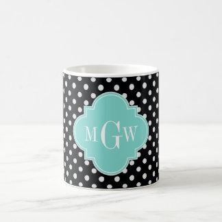 Black Wht Polka Dots Aqua Quatrefoil 3 Monogram Mug