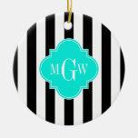 Black Wht Stripe Bright Aqua Quatrefoil 3 Monogram Double-Sided Ceramic Round Christmas Ornament