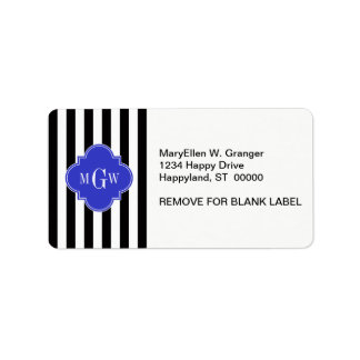 Black Wht Stripe Cobalt Blue Quatrefoil 3 Monogram Label