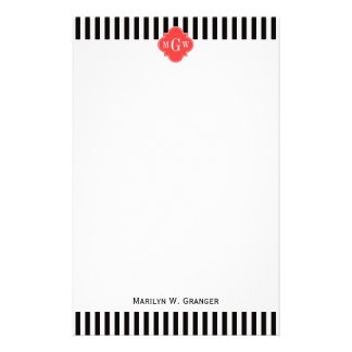 Black Wht Stripe Coral Red Quatrefoil 3 Monogram Customized Stationery