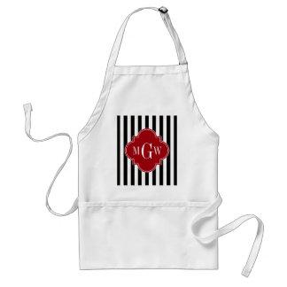 Black Wht Stripe Cranberry Red Square 3 Monogram Adult Apron