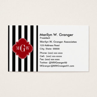 Black Wht Stripe Cranberry Red Square 3 Monogram Business Card