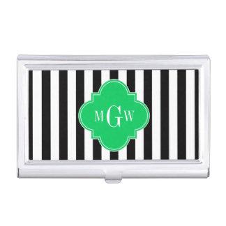 Black Wht Stripe Emerald Square 3 Monogram Business Card Case