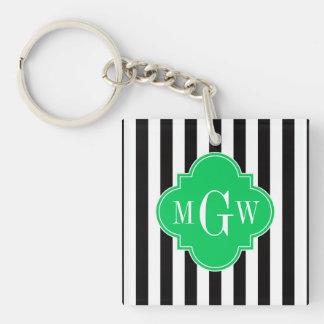 Black Wht Stripe Emerald Square 3 Monogram Keychain