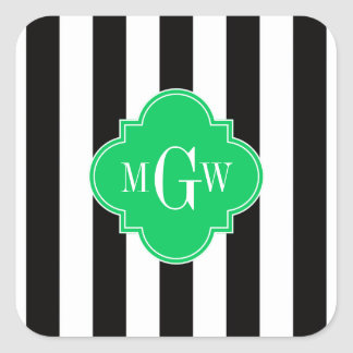 Black Wht Stripe Emerald Square 3 Monogram Square Sticker