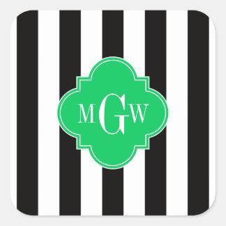Black Wht Stripe Emerald Square 3 Monogram Square Sticker