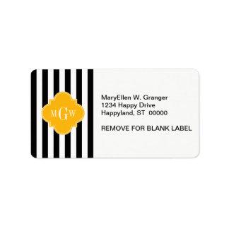 Black Wht Stripe Goldenrod Quatrefoil 3 Monogram Custom Address Labels