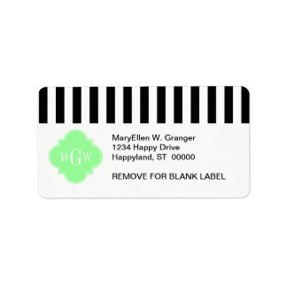 Black Wht Stripe Mint Green Quatrefoil 3 Monogram Custom Address Label