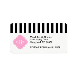 Black Wht Stripe Pink Quatrefoil 3 Monogram Personalized Address Label