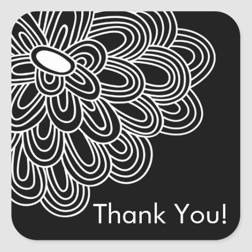 Black Whte Floral Thank You Bridal Shower Favor Stickers