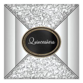 Black Whtie Quinceanera 5.25x5.25 Square Paper Invitation Card