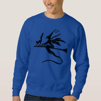 Black Wicked Witch And Cat Flying On Broomstick Sweatshirt