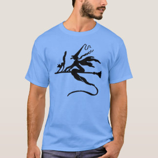 Black Wicked Witch and Cat flying on Broomstick T-Shirt