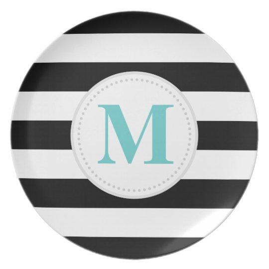 Black Wide Stripe Dinner Plate