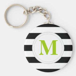Black Wide Stripes Custom Monogram Basic Round Button Keychain