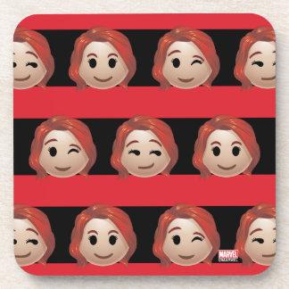 Black Widow Emoji Stripe Pattern Beverage Coaster