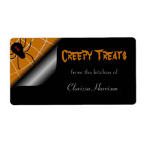 Black Widow Halloween Baking Labels