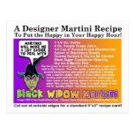Black Widow Halloween Martini Recipe Postcard