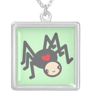 Black Widow Love Square Pendant Necklace