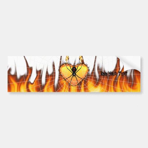 Black Widow on Heart of Fire Bumper Stickers