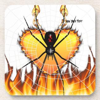 Black Widow on Heart of Fire Drink Coaster