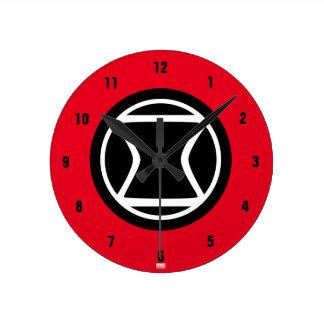 Black Widow Retro Icon Round Clock