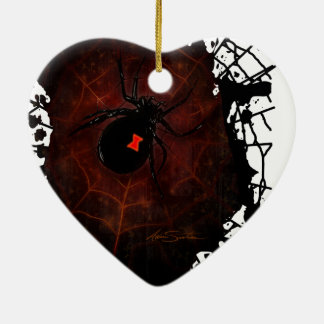 Black Widow (Signature Design) Double-Sided Heart Ceramic Christmas Ornament