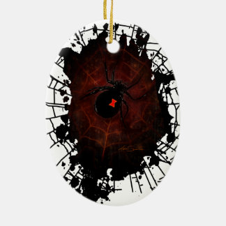 Black Widow (Signature Design) Double-Sided Oval Ceramic Christmas Ornament