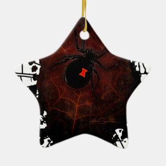 Black Widow (Signature Design) Double-Sided Star Ceramic Christmas Ornament
