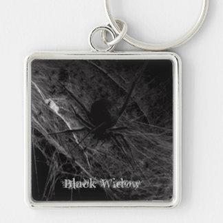 Black Widow Silver-Colored Square Keychain