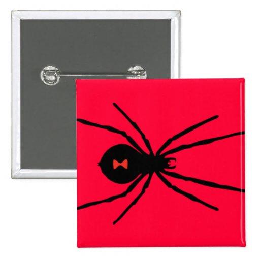 Black Widow Spider 2 Inch Square Button