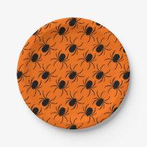 black widow spider halloween design paper plate