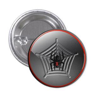 Black Widow Spider on a Web Halloween Badge Pinback Button