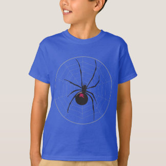 Black Widow Spider on Pale Grey Web T-Shirt