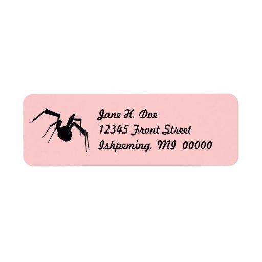 Black Widow Spider Pink Return Address Labels