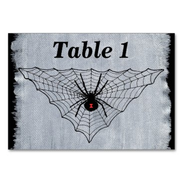 Halloween Themed Black Widow Spider Red Marking in Black Web Card