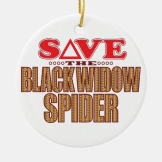Black Widow Spider Save Ceramic Ornament