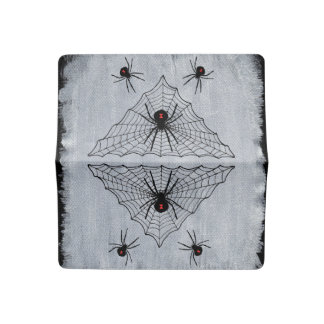 Black Widow Spider Triangle Web Halloween Gothic Checkbook Cover