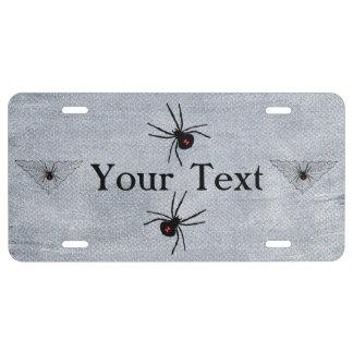 Black Widow Spider Web Halloween Gothic License Plate