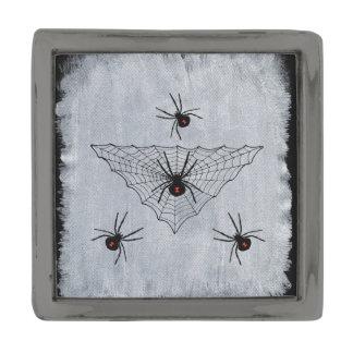 Black Widow Spider Web Halloween Gothic Pin