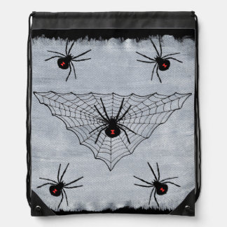 Black Widow Spider Web Halloween Gothic Drawstring Bags