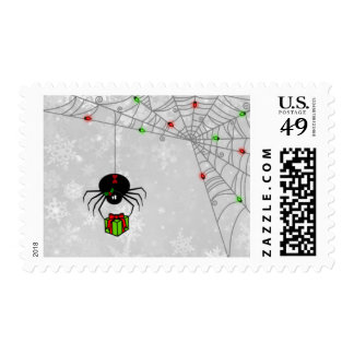 Black Widow Spider With Lit Up Web Holiday Postage