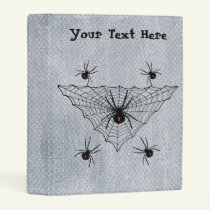 Black Widow Spiders in Web on Faux Textured Look Mini Binder