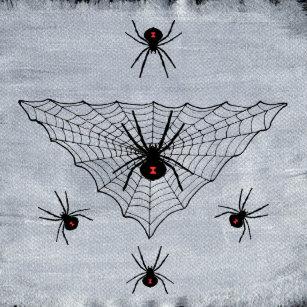 ec5b7549c6e171 Black Widow Spiders Red Markings Web on White Dartboard With Darts